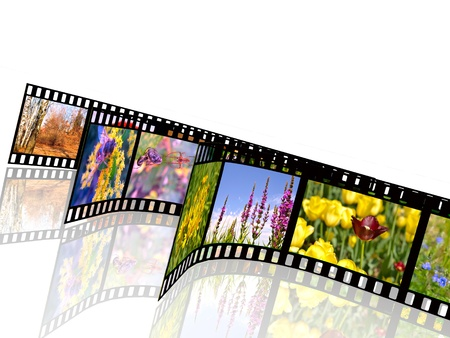 Film rolls with color pictures (nature) on white background. photo