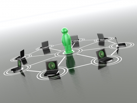 Network - green man and laptops on gray background. photo