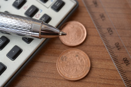 Business background with money, calculator and pen. Stock Photo - 18521224