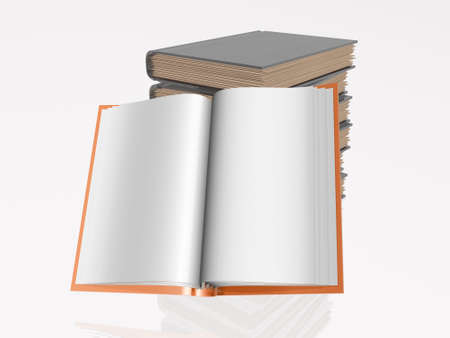 normal school: Red and grey books, white reflective background. Stock Photo