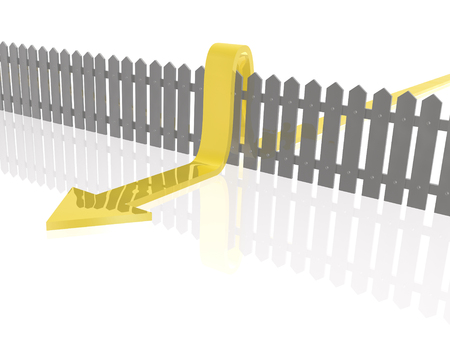 Yellow arrow and fence on white reflective background. photo