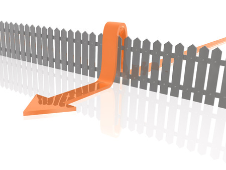 Red arrow and fence on white reflective background. photo