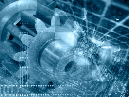 Digits and gears - abstract computer background in blues.