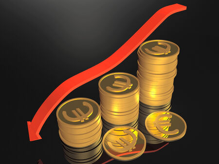 Business picture about analysis - arrow and coins. Stock Photo