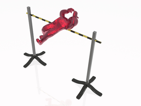 Red man getting over the barrier, white reflective background. Stock Photo