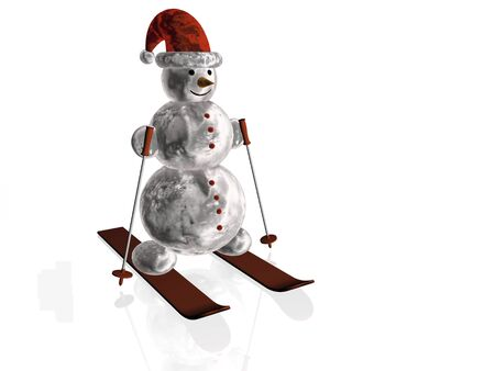Snow man with skis, white reflective background. photo