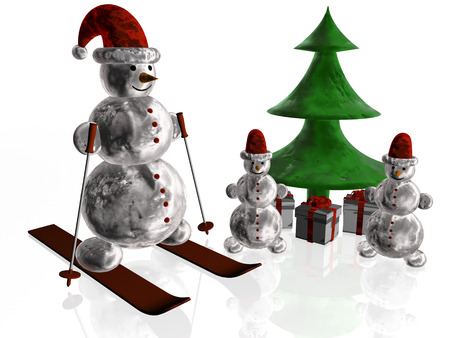 Snowmen with bag and fir photo