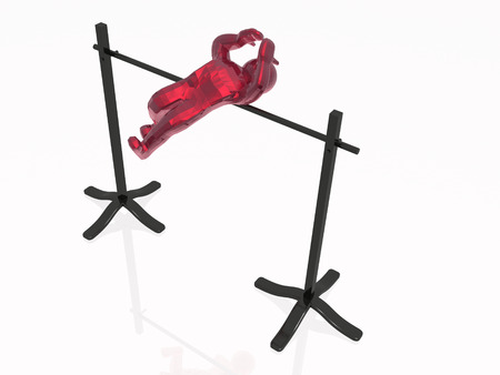 subdue: Red man getting over the barrier, white reflective background. Stock Photo