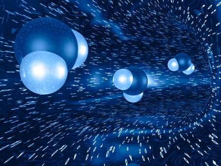nuclei: Three molecules on the abstract digital background, in blues. Stock Photo