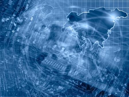 Negocios de fondo en tonos azules con los dispositivos electrónicos y los dígitos. Foto de archivo - 25258449