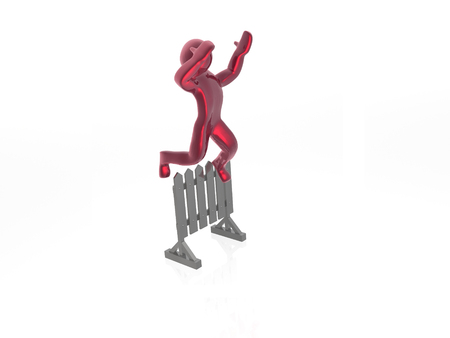 uomo rosso: Uomo rosso superando la barriera Archivio Fotografico