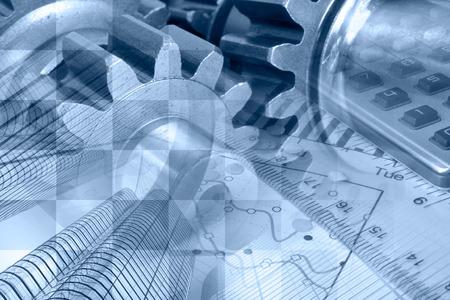 生産性: ビジネス グラフ、ギア、建物とブルースの背景。