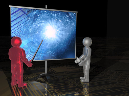 electronic background: Gray and red mans with the screen, electronic background.