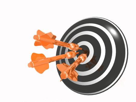 exactness: Orange arrows on the target, white background.