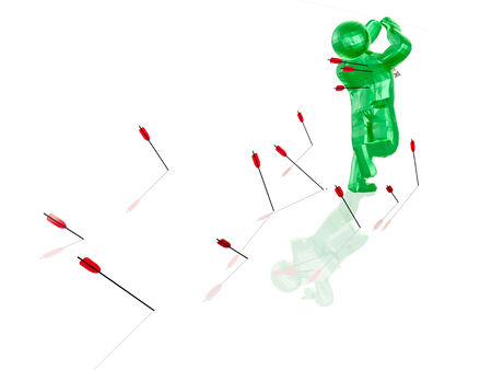 bombardment: Green running man and arrows, white background.