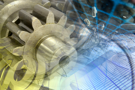 commerce and industry: Business background with gears and digits.
