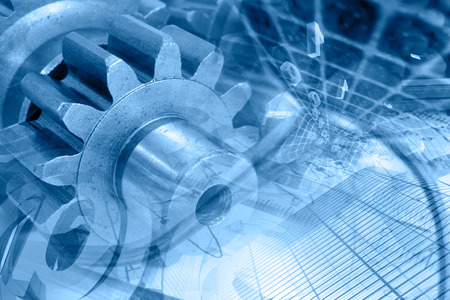 Business background in blues with gears and digits.