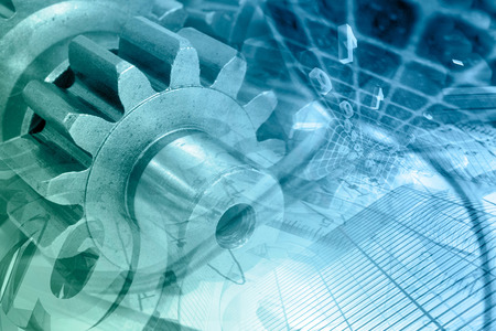 gear: Business background with gears and digits, in greens and blues. Stock Photo