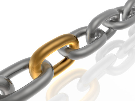 chain link: Grey chain with brown link, white background.