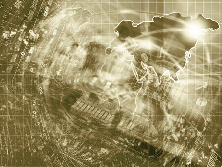 electronic background: Electronic background in sepia with map, device and digits. Stock Photo