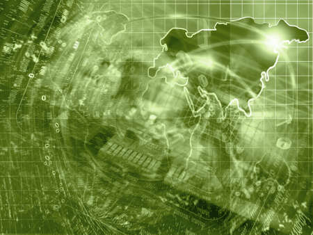 electronic background: Electronic background with map, device and digits, in sepia.