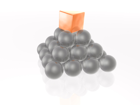 pyramid peak: Red cube and grey spheres as abstract background. Stock Photo