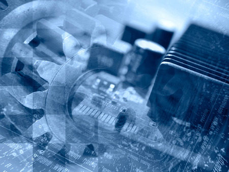 Technology background with electronic device, gears and digits, blue toned.