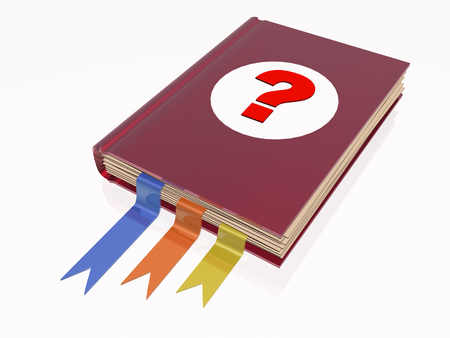 reflective background: Book with question mark, white reflective background. Stock Photo