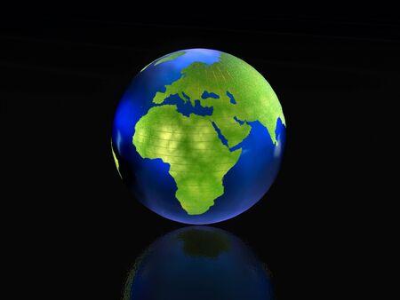 reflective background: Earth globe on the black reflective background.