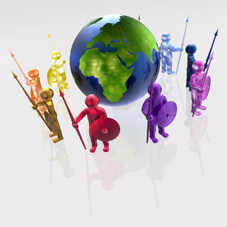Color armed mans with globe on white background.