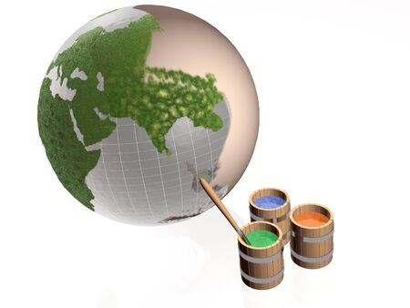 redecorate: Paint barrels and earth on white background. Stock Photo
