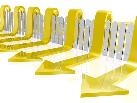 reflective background: Yellow arrows and fence on white reflective background.