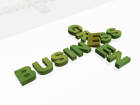 business metaphor: Green letters on white background - business metaphor.