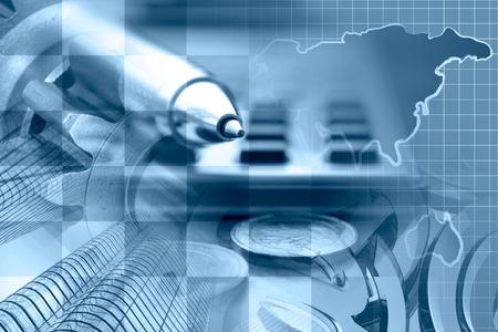 Fondo financiero en tonos azules con el dinero, calculadora, lápiz y edificios. Foto de archivo - 44199480