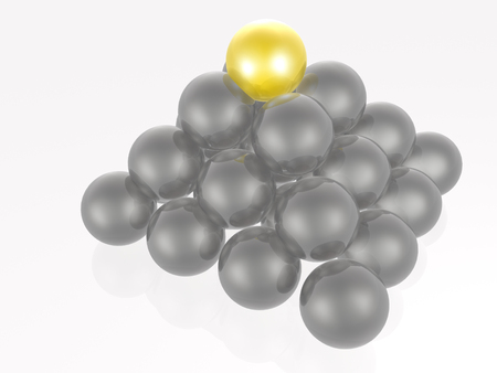 pyramid peak: Yellow and grey spheres as abstract background.