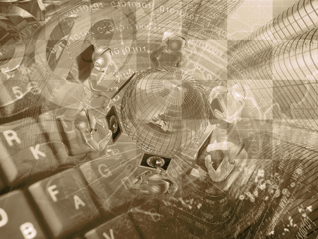 mans: Mans, keyboard and globe - abstract computer background in sepia.
