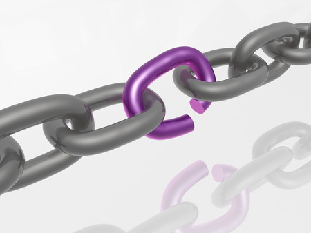 broken chain: Grey chain with violet link, white background.