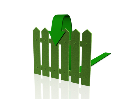 reflective background: Green arrow and fence on white reflective background.