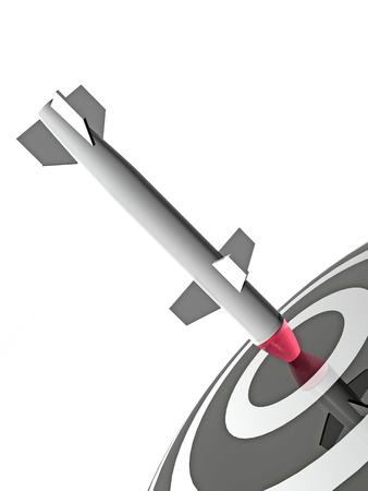 exactness: Rocket on the darts target, white background. Stock Photo