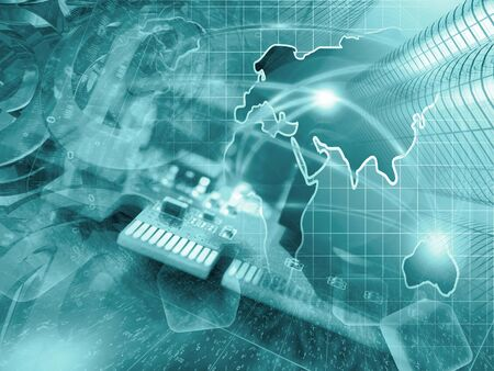 contact business: Device, mail signs and map - abstract computer background in greens. Stock Photo