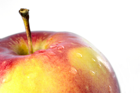 malnutrition: Close-up red apple on the white background. Stock Photo