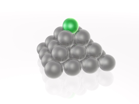 pyramid peak: Green and grey spheres as abstract background.