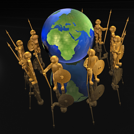 防衛: Armed mans with globe on black reflective background. 写真素材