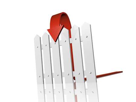 reflective background: Red arrow and fence on white reflective background.