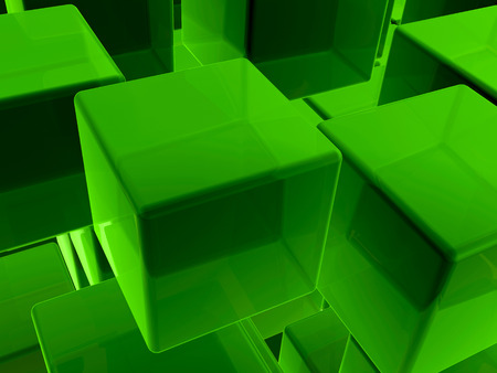 green background: Green cubes as abstract background.