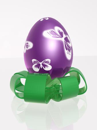 reflective background: Easter egg on white reflective background.