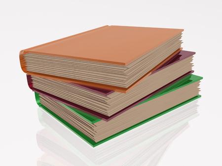 information medium: Color books, white reflective background.