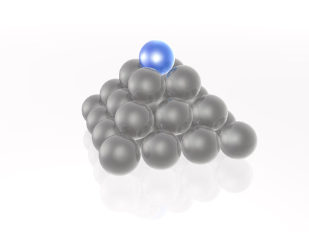 Blue and grey spheres in the pyramid on white. Stock Photo