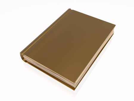 reflective background: Brown book, white reflective background.