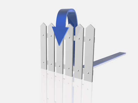blue arrow: Blue arrow and fence on white reflective background. Stock Photo